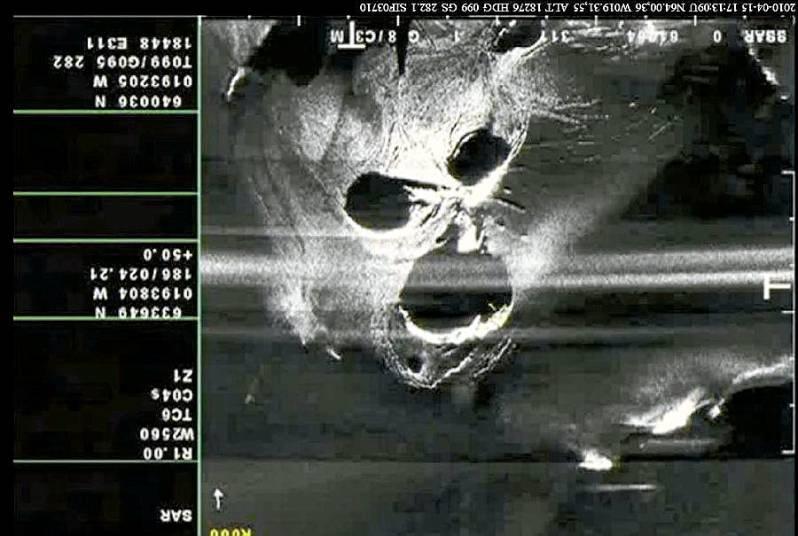 Снимок вулкана Эйяфьятлайокудль из космоса.