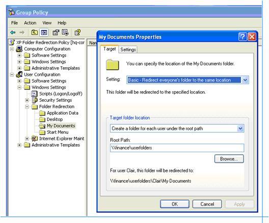Оснастка «Перенаправление папок» в редакторе объектов групповой политики Windows XP