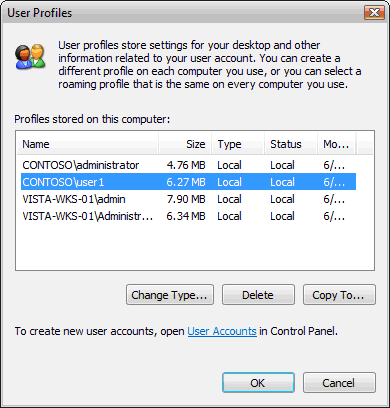 Диалоговое окно Профили пользователей в Windows Vista